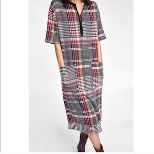 ZARA Check Midi Dress